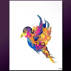 FLY AWAY - NEW Abstract Bird Painting - Original Contemporary Art by wostudios, $69.00