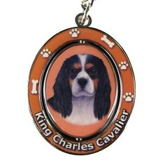 Cavalier King Charles Spaniel Tri Color Dog Spinning Keychain