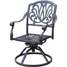Darlee Elisabeth Cast Aluminum Patio Swivel Rocker Dining Chair ($250) ❤  Liked On Polyvore Featuring Home, Outdoors, Patio Furniture, Outdoor Chairs,  ...