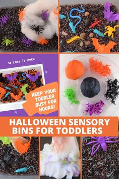 We are sharing 10 fun Halloween Sensory Activities For Toddlers, Start a new toddler Halloween tradition with your family! We included toddler Halloween art ideas, Halloween books for toddlers, Halloween slime recipes, Halloween sensory bins, Halloween colored rice recipe, fall toddler activities, fall playdough recipes, Halloween toddler lunch ideas, Make spaghetti worms for Halloween sensory play with your toddler! #halloween #toddlerhalloween #toddleractivities