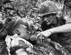 | War Fire Fight Wounded Drink 173rd Airborne. Vietnam
