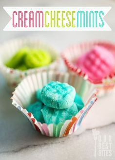 Easy cream cheese mints from Our Best Bites. Only 3 ingredients, no cooking