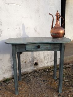 Console table chalk painted.