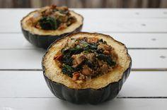Stuffed Acorn Squash - kale, mushrooms...ground turkey instead of quinoa...and cinnamon