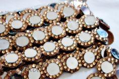 Gold Mirror Bollywood inspired trim Gold Floral Cut work Traditional Sari Border Trim Indian Craft Ribbon Sewing - AN0007