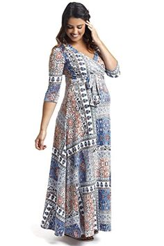 1a42ff9cb90d PinkBlush Maternity Blue Moroccan Print Draped Maternity Maxi Dress, Small  at Amazon Women's Clothing store: