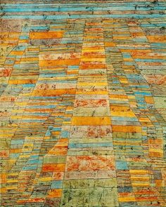 Paul Klee. It's abstract art that also has perspective...interesting.