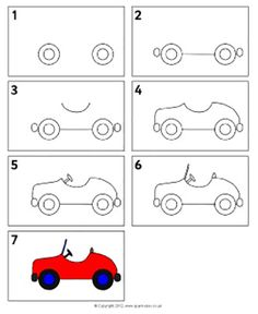 Cars drawings step by step road travel primary teaching resources amp car drawings step by step Drawing Lessons, Art Lessons, Easy Drawings For Kids, Drawing For Kids, Art For Kids, Crafts For Kids, Drawing Ideas, Car Drawings, Doodle Drawings
