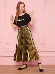 Style: GlamorousColor: GoldPattern Type: PlainLength: Long/Full LengthType: PleatedDetails: PleatedSeason: Spring/Summer/FallComposition: PolyesterMaterial: MetallicFabric: Fabric has no stretchSilhouette: ShiftWaist Type: High WaistArabian Clothing: Yes Preteen Girls Fashion, Girls Fashion Clothes, Teen Fashion Outfits, Girl Fashion, Steampunk Fashion, Gothic Fashion, Stylish Dresses For Girls, Dresses Kids Girl, Kids Outfits Girls