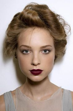 Natural eye, deep berry lips and pink cheeks.