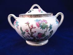 John Maddock & Sons Ltd Royal Vitreous Indian Tree Sugar Bowl w/Lid 1896-1906 #Edwardian #JohnMaddockSonsLtd