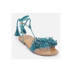 Justfab Flat Sandals Tabetta ($40) ❤ liked on Polyvore featuring shoes, sandals, green, fringe sandals, lace up platform sandals, platform shoes, fringe flat sandals and green flats