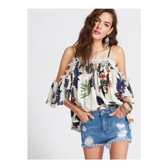 SheIn(sheinside) Tropical Print Cold Shoulder Appliques Top ($15) ❤ liked on Polyvore featuring tops, multi color, cold shoulder tops, bohemian style tops, boho tops, cut-out shoulder tops and elbow length sleeve tops