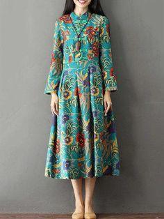 #AdoreWe #PopJulia - #PopJulia Long Sleeve Vintage Printed Buttoned Stand Collar Dress - AdoreWe.com