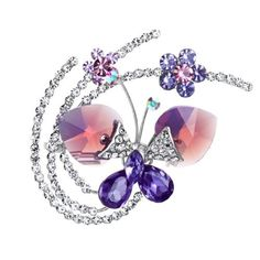 Neoglory Platinum Plated Swarovski Elements Crystal, Purple Flower Butterfly, Brooch Pin by neoglory -- Awesome products selected by Anna Churchill