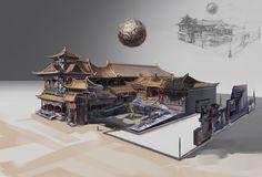 ArtStation - Floating temple - the lesser courtyard, Victoriya Anda