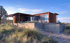 The Marfa weeHouse, a compact but luxurious desert retreat. The modern prefab has a 440 sq ft studio floor plan.   www.facebook.com/SmallHouseBliss