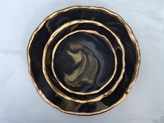 LUXE MOON CLOUDS // CatchAll Marbled Dish by TheGildedAbstract