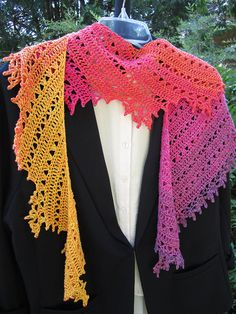 Tequila Sunrise Crescent Shawl, Tequila Sunrise, Cowls, Scarves, Crochet Patterns, Fashion Accessories, Wraps, Weather, Projects