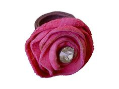 Leather Flower Pink Suede Ring with Vintage Faceted by ManoBello