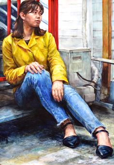 watercolor painting - artist Hoehwarang(회화랑), South Korea #수채화 #인체수채화 #인물화 #인체 #회화랑 #회화랑미술학원 #회화 #미술 #academy #watercolor #Hoehwarang #painting Human Painting, Human Drawing, Human Art, Figure Painting, Figure Sketching, Figure Drawing, Colorful Drawings, Art Drawings, Sitting Poses
