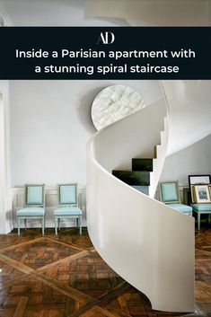 See how French interior designer Jacques Grange created this sculptural spiraling staircase to combine two floors in his home. #hardwood #floors #art #chairs #vintage #spiral #staircase Parisian Apartment, Paris Apartments, Paris Bedroom, Home Decor Bedroom, Stair Case, Interior Decorating, Interior Design, Spiral Staircase, French Interior