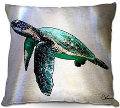 Sea Turtle 2 Throw Pillow & Outdoor Pillow/Cushion by Artist Corina Bakke. by CorinaGallery on Etsy