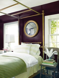 Be bold! Use rich colors of the walls of your bedroom.