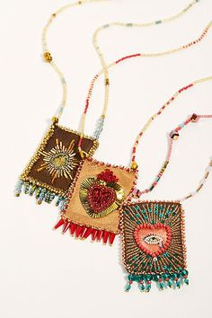 Jewelry Bohemian - Bring love and luck to your life with this beaded and embroidered talisman necklace from Olivia Dar featuring an embellished center design with fringe ends. * Slip-on style * Long length * Lightweight Beaded Jewelry Patterns, Textile Jewelry, Fabric Jewelry, Diy Schmuck, Schmuck Design, Bar Necklace, Jewelry Necklaces, Silver Jewelry, Necklace Display