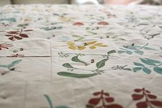 Pretty adorable. This is the top part of a quilt that she screen printed.