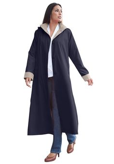 Jessica London Plus Size Petite Long Hooded Raincoat Ruby Black,22 ...