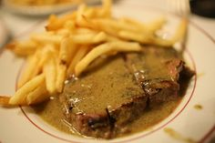 Steak Frites at Le Relais de l'Entrecote 15 Rue Marbeuf, Paris