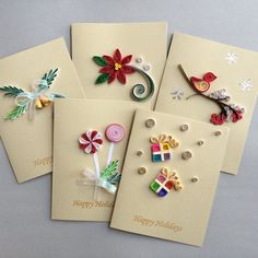 Quilled Holiday cards set of 5 | Etsy
