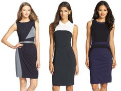 Modern Black Dress. Color blocking helps to give the silhouette of a simple black dress a more modern look.