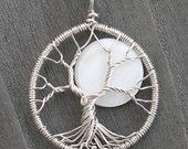 Medium Size Moon Tree - Recycled Sterling Silver and Natural Rainbow Moonstone - Original Design by Ethora. $85.00, via Etsy.