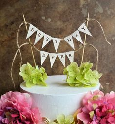 Wedding cake topper...best day ever banner for your by SkyeArt, $19.50