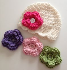 Baby Girl Hat, Baby Hat, Newborn Hat, Crochet Hat,Flower Hat, Photo Prop, Hat with 4 Flowers