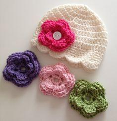 Baby Girl Hat, Baby Hat, Newborn Hat, Crochet Hat,Flower Hat, Photo Prop, Hat with 4 Flowers