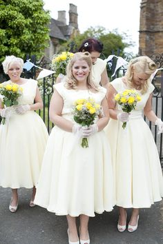 These pretty, feminine bridesmaid dresses look great as part of a retro 1950s kitsch wedding.