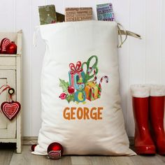 This magnificent Personalised Gift Bundle Heavy Cotton Sack achieves the near impossible and makes receiving gifts from Father Christmas on Christmas