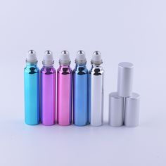 Hot Sale 10 ml (5 pieces/lot) Fashion Metal Roller Refillable Bottle For Essential Oils With 4 Colors UV Roll-on Glass Bottles