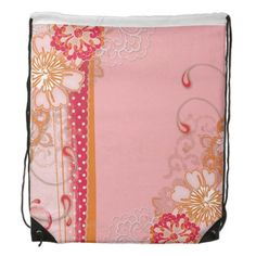 Pink Red Flowers Drawstring Backpack