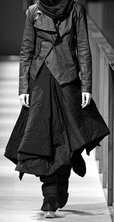 Beautiful layers of black in different textures by Miriam Ponsa SHERPA Collection 080 Barcelona Fashion Week FW14/15
