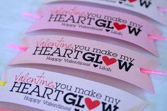 """""""Valentine"""", you make my heart glow"""" with glow stick"""