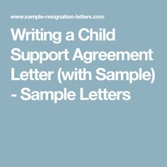 writing a child support agreement letter with sample. Resume Example. Resume CV Cover Letter