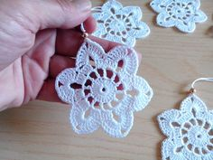 Crochet snowflakes Christmas decorations set of 6 crochet image 1 Quick Crochet Patterns, Crochet Snowflake Pattern, Crochet Snowflakes, Crochet Flower Patterns, Crochet Motif, Crochet Flowers, Crochet Christmas Ornaments, Christmas Crochet Patterns, Holiday Crochet