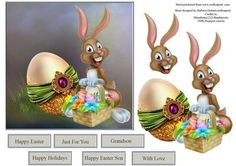 WoW We Easter Egg Topper and Decoupage on Craftsuprint designed by Barbara Hiebert - This is an Easter card that has a wow we Easter egg , and a surprised Bunny for the decoupage layers.The sentiment tags say.Happy EasterJust for YouGrandsonHappy HolidaysHappy Easter SonWith Love - Now available for download!
