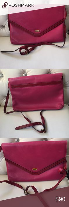 💝💝💝Bettina pink large sorry firm price This is a beautiful bag pink large clutch snap front leather straps inside 2folds zipper in side what a great bag. 🌹🌹🌹final price Bettina Bags Satchels