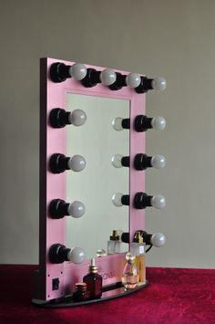 """Pretty in Pink! Our """"Hollywood Glam Mirror"""" is available in three different colors. Visit us at www.ImpressionsVanity.com for more details"""