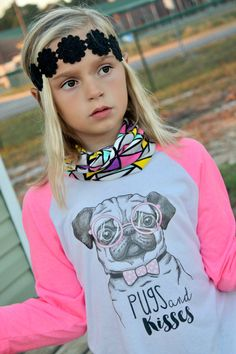 Pugs & Kisses is the perfect tee for your pug lover! ________________________________________________________ ►PRODUCT DESCRIPTION Our American Apparel Raglan 3/4 Sleeve Tees Sleeve Colors: Pink/White or Black/White Sizes 3-6m, 6-12m, 12-18m, 18-24m, 2, 4, 6, 8, 10 & 12 Adult sizes - XS, S, M, L and XL   ►SIZE CHART (Scroll through pictures)  ►Please note that colors you see on the screen may vary slightly once printed on baby bodysuit or tee shirt. ____________________...